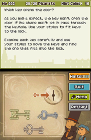 Professor Layton and the Diabolical Box - An early puzzle in Professor Layton and the Diabolical Box. The puzzle is solved via input on the bottom screen, while the instructions are on the top.