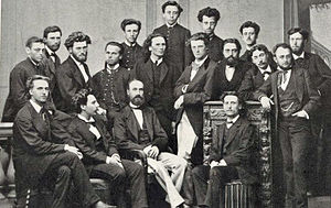 Gabriel Fauré - Staff and students of the École Niedermeyer, 1871. Fauré in front row second from left; André Messager in middle row second from right