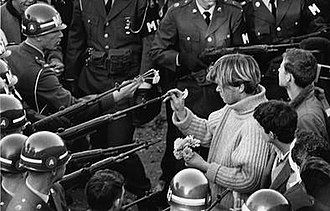 Hibiscus (entertainer) - Hibiscus (then George Harris) is believed to be the subject of the iconic photograph Flower Power, snapped by Bernie Boston on October 21, 1967, at the National Mall.