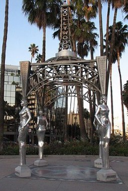 Hollywood and La Brea Gateway at the Walk of Fame's west end Four Ladies of Hollywood 2008.jpg