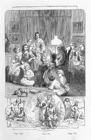 Evenings at Home - Frontispiece to the 1858 Longman and Co. et al. edition.