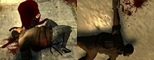 A dead civilian from the uncensored version on the left, and the censored version on the right. A pool of blood is visible on the uncensored version, while the censored version features a small splash of blood.