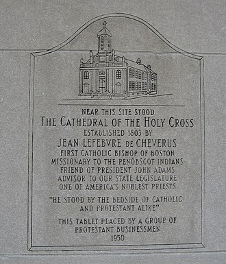 Holy Cross Church, Boston - Tablet marking the site.