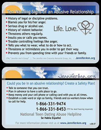 National Domestic Violence Hotline - Educational Card from Jennifer Ann's Group featuring the National Teen Dating Abuse Helpline