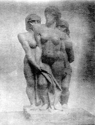 Groupe de femmes - Joseph Csaky, 1911-1912, Groupe de femmes (Groupe de trois femmes, Groupe de trois personnages). This Csaky family archive photograph shows a frontal view of the work, revealing three figures rather than two