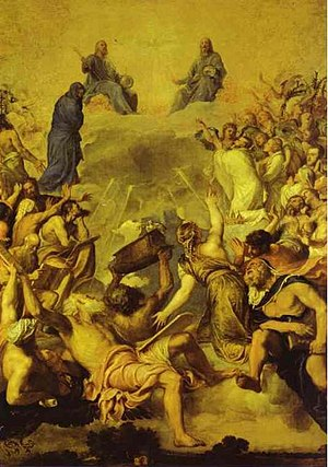 Karl V - Titian's Last Judgment, owned by the emperor (depicted in a white robe at the upper right), and called for as a stage backdrop (El Prado)