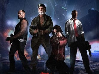 """Left 4 Dead - The final design of the survivors, shown on the poster for the """"No Mercy"""" campaign. Left to right: Francis, Bill, Zoey, Louis"""