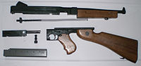 Thompson SMG Model M1A1, field stripped for cleaning