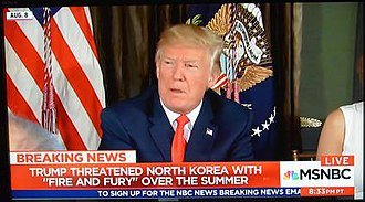 "Breaking news - An example of ""breaking news"" with no new developments, seen in a screenshot of MSNBC's The 11th Hour, on December 28, 2017 describing events from August 2017 during the 2017–18 North Korea crisis."