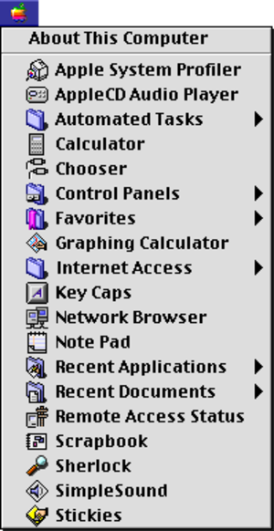 Apple menu - Mac OS 8.6's Apple Menu