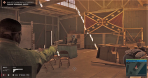 Mafia III - Protagonist Lincoln Clay engaged in a firefight. Players have access to a variety of weapons for use in combat, including pistols, grenades, and a knife.