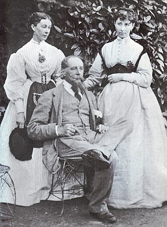 Mary Dickens - Mamie Dickens (left) with her sister Katey and their father Charles Dickens at Gads Hill Place c.1865