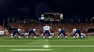 NCAA Football 07 - Screenshot of in-game action between Virginia Tech and Virginia at Lane Stadium