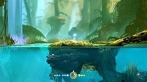 Ori and the Blind Forest - Gameplay screenshot showing Ori and Sein (blue orb above Ori's head) The HUD at the bottom represents Ori's power and health, as well as the progress towards the next level up.