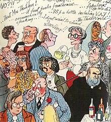 book cover showing cartoon characters at a cocktail party