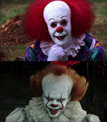 Top: A clown with red hair and white make-up stands around a ground of green grass and dirt piles doing a thinking pose and presenting a seductive smile. Bottom: A clown with orange hair holds a red ballon and expresses a sinister smile.