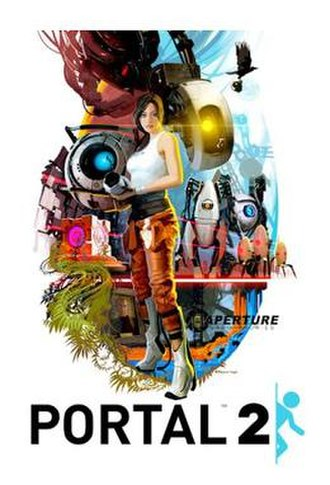 Portal (series) - A promotional poster created by Valve artist Tristan Reidford, showcasing the characters from Portal. From center top clockwise: Chell, GLaDOS, P-Body (left) and Atlas, the turrets, Cave Johnson (in picture frame), a Companion Cube, and Wheatley