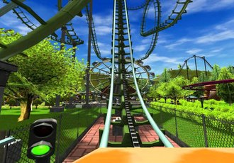 RollerCoaster Tycoon 3 - The CoasterCam feature in action.