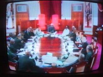 Senate of Barbados - Image: Senate of Barbados session TV