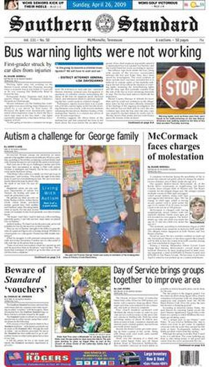 Southern Standard - Image: Southern standard newspaper mcminnville tennessee