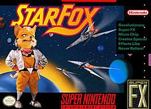 An anthropomorphic fox stands in front of an outer space scene, where space ships are seen approaching a planet.