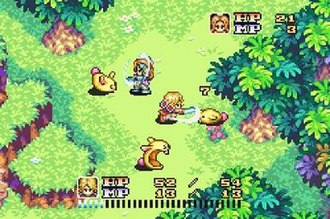 Sword of Mana - A battle featuring the two protagonists. The hero is the currently selected character, and his health and magic points gauges are shown at the bottom, while the heroine's are shown at the upper right. They are fighting Rabites, a common enemy from the series.