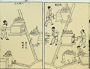 Smelting - Casting bronze ding-tripods, from the Chinese Tiangong Kaiwu encyclopedia of Song Yingxing, published in 1637.