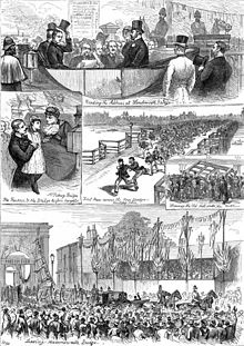 "Panel of five drawings. Clockwise from the top, they show: four men and a woman in an open-topped coach surrounded by police officers, in which one of the men is reading from a stack of papers; a large crowd of people running across a bridge; a crowd of men demolishing a large gate; a large crowd watching a procession of horse-drawn carriages crossing an ornate bridge bearing a large sign ""Free for Ever""; a man holding a young girl up to a middle-aged woman."