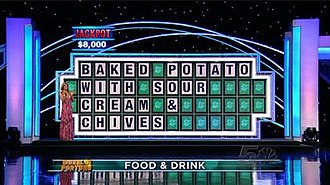 The show's current puzzle board, as seen on a Season 30 episode on September 28, 2012 in the Jackpot Round. Wheel puzzle board.jpg