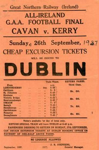 Great Northern Railway (Ireland) - Poster advertising special GNR trains for the 1937 All-Ireland Senior Football Championship Final.