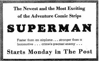Advertisement for SUPERMAN daily comic strip (text)