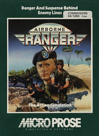 Airborne Ranger - Commodore 64 cover art by Mark Freeman