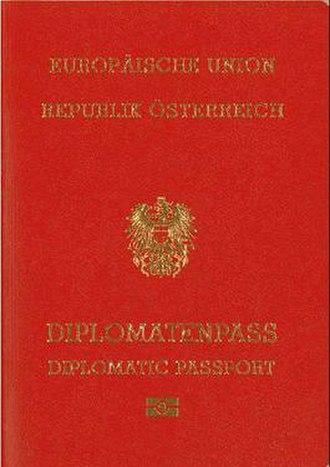 Austrian passport - The front cover of a contemporary Austrian diplomatic passport