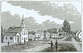 Tolland, Connecticut - South View of the Central Part of Tolland, wood block engraving from a sketch by John Warner Barber for his Historical Collections of Connecticut (New Haven, 1836)