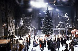 Batman Returns - Gotham City Square set built inside Studio 16 on Warner Bros. Studios.