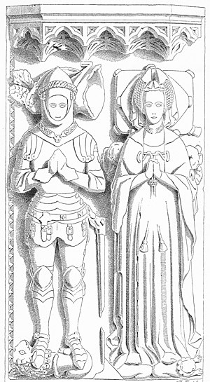 William de Botreaux, 3rd Baron Botreaux - Drawing (c. 1890) of effigies of William de Botreaux, 3rd Baron Botreaux(d.1462) and his 1st wife Elizabeth Beaumont, North Cadbury Church, Somerset