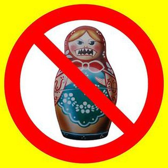 Do not buy Russian goods! - One of the images used in leaflets, stickers, and posters calling for a boycott of Russian goods.