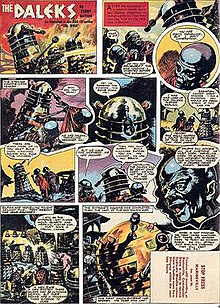 "A comics page with eleven panels. The first panel contains the title ""The Daleks"" in jagged white letters. Subsequent panels show Dalek cylinders (slightly narrower than those depicted in previous images) and blue-skinned humanoids with bulbous heads. The last panel shows a gold-coloured Dalek-like shape with a large spherical top."
