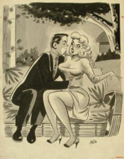 "1956 example of DeCarlo's cartoon work for men's magazines. ""Allan, are you trying to pull the wool over my eyes?"""