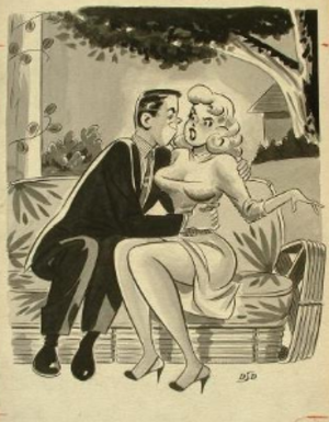 """Dan DeCarlo - 1956 example of DeCarlo's cartoon work for men's magazines. """"Allan, are you trying to pull the wool over my eyes?"""""""