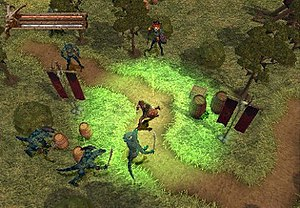 Baldur's Gate: Dark Alliance - Gameplay in the PlayStation 2 version of Dark Alliance, showing Vahn fighting his way through the Marsh of Chelimber. His health and mana meters are at the top left of the screen. The empty meter between them is his experience meter.