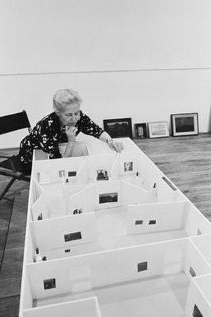 Dominique de Menil - Dominique de Menil with gallery model, Houston, 1973