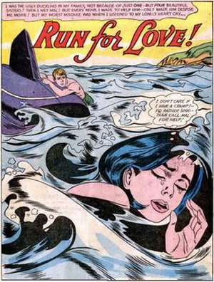 """Drowning Girl - Tony Abruzzo's splash page from """"Run for Love!"""" in Secret Hearts no. 83 (November 1962) was the source for Drowning Girl."""