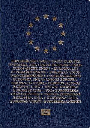 European Union laissez-passer - The front cover of a  machine-readable European Union laissez-passer.