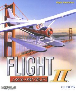 "A red and white floatplane flies near the Golden Gate Bridge. Fog rises below and San Francisco is visible in the distance. Stylized words reading ""Flight Unlimited II"" appear at the bottom."