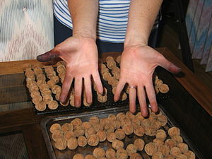 Juglans nigra -  Hands after removing the husks from 500 black walnuts