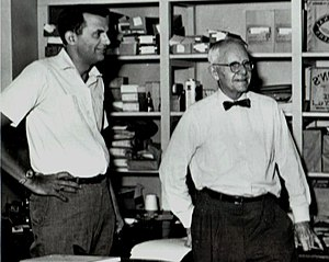 John Crowe Ransom - John Crowe Ransom with Robie Macauley (left) at the Kenyon Review in 1959. Photo by Thomas Greenslade.