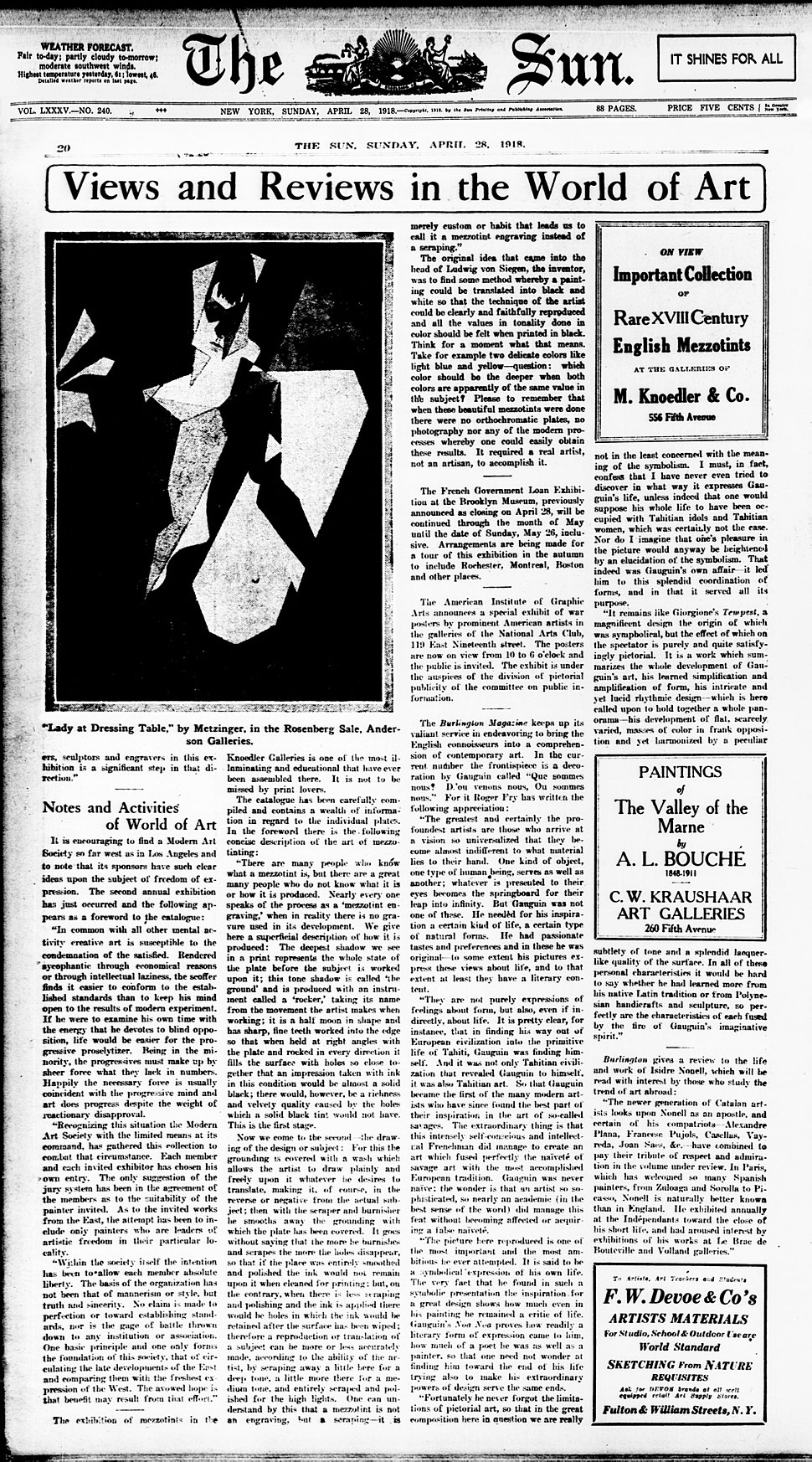 Jean Metzinger, 1916, Femme au miroir (Femme à sa toilette, Lady at her Dressing Table), published in The Sun, New York, 28 April 1918