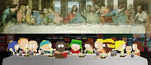 Margaritaville (South Park) - Kyle is portrayed as a Jesus-like savior of the economy, and his dinner with friends (bottom) resembles The Last Supper painting by Leonardo da Vinci (top).