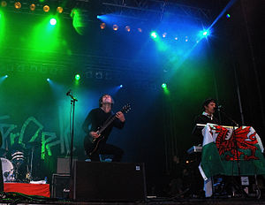 Lostprophets - Mike Lewis (left), Jamie Oliver (right), performing in Pontypridd, 2007.
